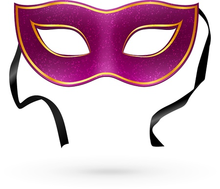 mardi gras mask: Violet vector carnival mask with ribbons