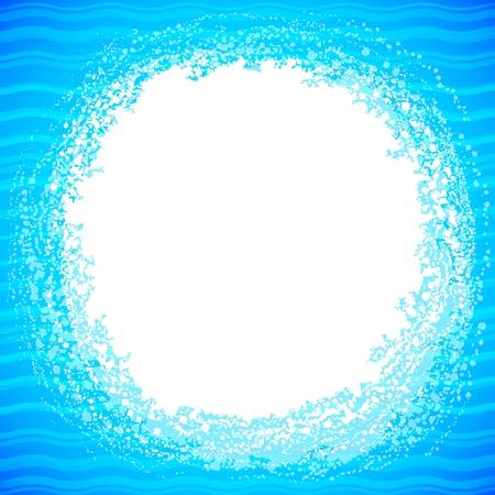 Grunge vector white splash in abstract blue water photo