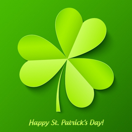 Green paper cutout clover, Patrick s Day greeting card Vector