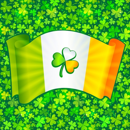Celtic clover on Irish flag at green clovers background Stock Vector - 18013368
