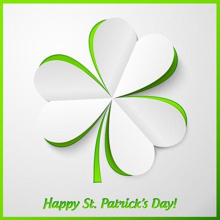 irish background: White and green paper cutout Patrick s Day clover card