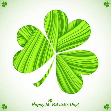 Green cutout striped paper clover Patrick s day card Stock Vector - 18013354