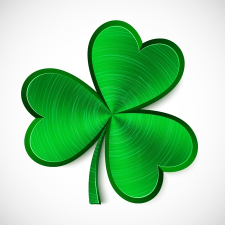 Green metallic isolated clover with shadow Vector