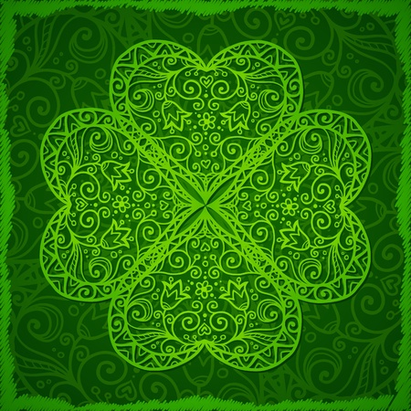 Ornate Saint Patrick s Day background with four-leaf clover Vector