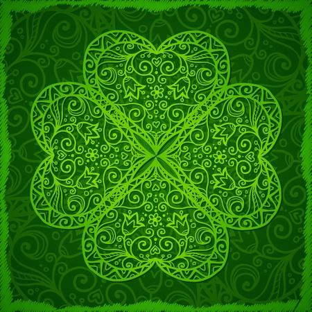 fourleaf: Ornate Saint Patrick s Day background with four-leaf clover