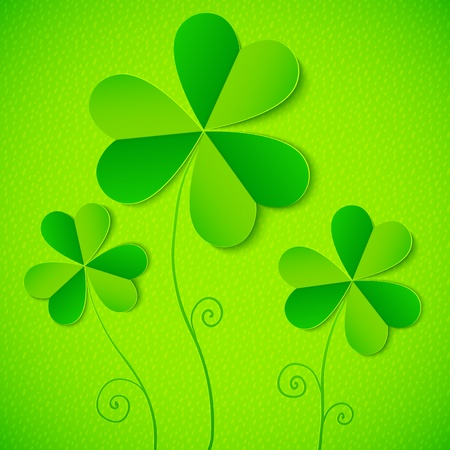 Green paper clovers background for Saint Patrick s Day Stock Photo - 18013326