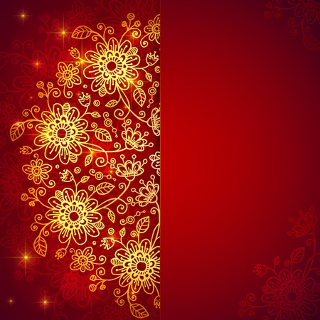 Bright red vintage doodle flowers background with place for text Stock Photo - 18013296