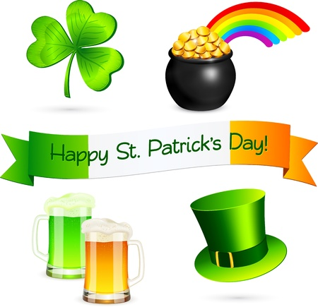 Saint Patrick s Day design elements set Vector