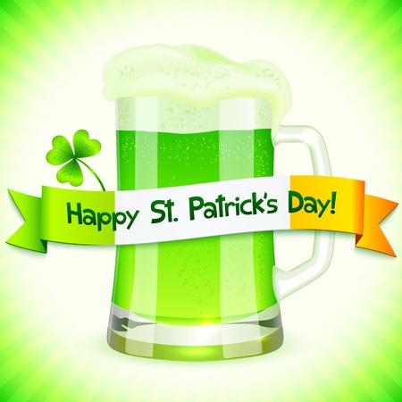 Green Saint Patrick s Day greeting card with pint of green beer Vector