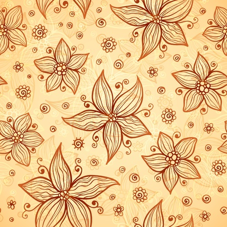 Ornate doodle chocolate and vanilla flowers background Vector