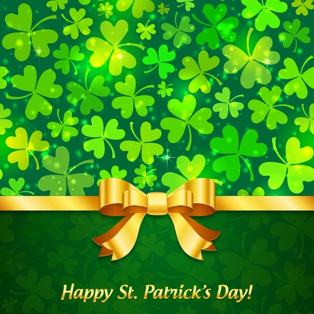 Green shining clovers Patrick s Day greeting card with sign Stock Photo - 18054484
