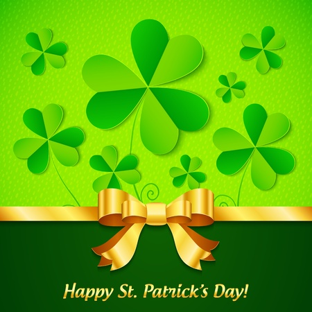 saint patrick��s day: Green paper clovers background for Saint Patrick s Day