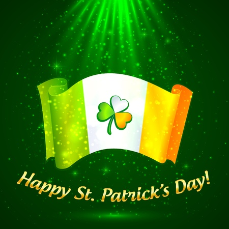 Shining celtic clover on Irish flag in magic lights photo