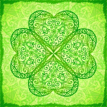 fourleaf: Light green ornate four-leaf clover abstract background Illustration