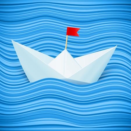 barco caricatura: barco de papel navegando en las olas azules del mar de papel Vectores