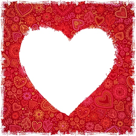 White painted heart on red ornate background, greeting card photo