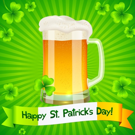 Green Saint Patrick s Day greeting card with pint of light beer Stock Vector - 18054645