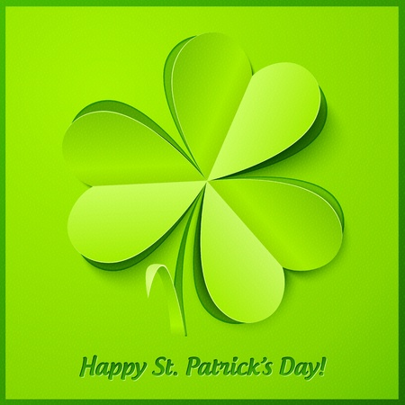 Green paper cutout clover, Saint Patrick s Day greeting card