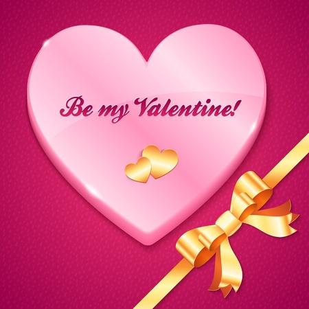 plastic heart: Cuore di plastica rosa con segno, cuore d'oro, arco e nastro Vettoriali