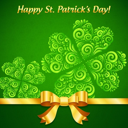 Curved ornate clovers green Patrick s Day greeting card Stock Vector - 18054631