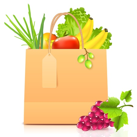 groceries shopping: isolated paper bag with vegetables Illustration