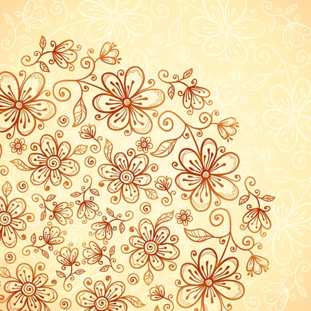 Doodle vintage flowers  background