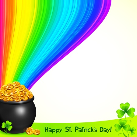 Magic leprechauns pot with gold under the rainbow Stock Vector - 18209320