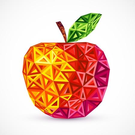 추상 밝은 색 벡터 사과 삼각형 일러스트