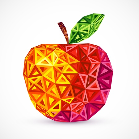 Abstract bright colors triangles vector apple