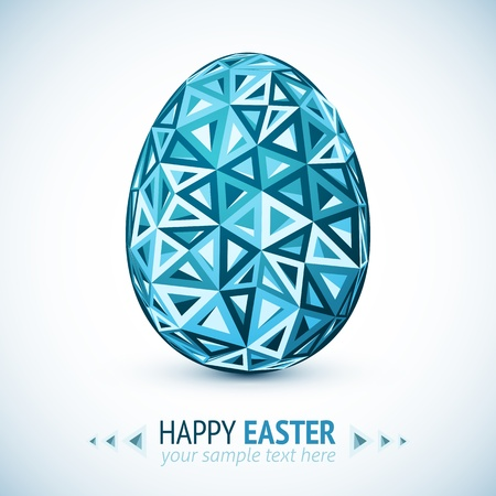 triangular shape: Abstract geometry triangles blue easter egg