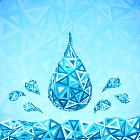 save water: Water triangular drops ecology abstract concept Stock Photo