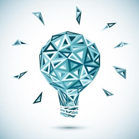 metal light bulb icon: Abstract triangle light bulb Illustration