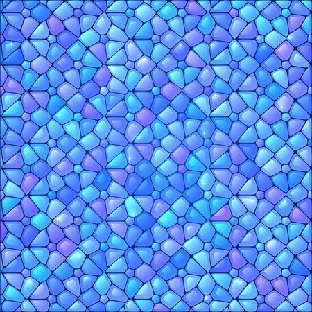 Azul abstracto del mosaico del vidrio manchado del vector del fondo