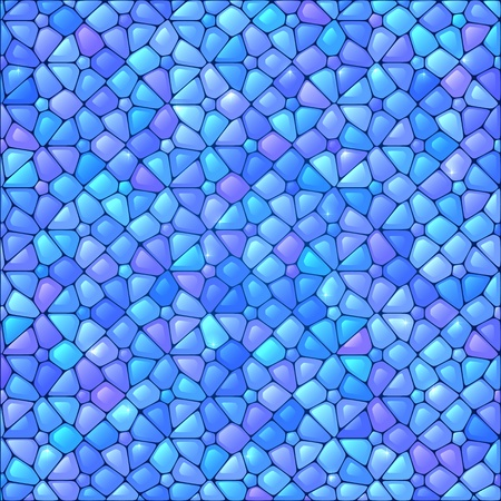 Blue abstract stained glass mosaic vector background