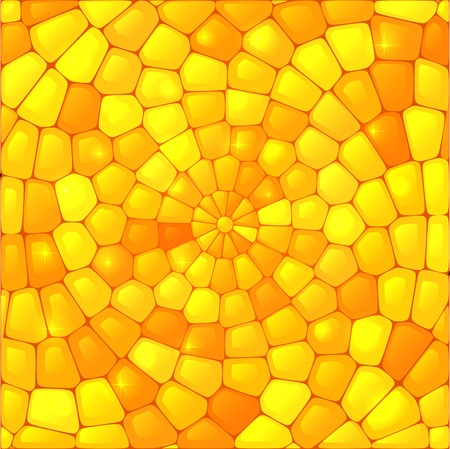 round window: Yellow abstract stained glass mosaic vector background Illustration