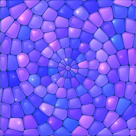 kaleidoscopic: Violet abstract stained glass mosaic vector background Illustration