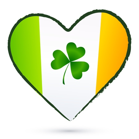 Isolated heart with green cliver and Irish flag Stock Vector - 18445454