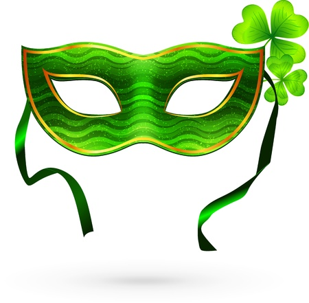 venice carnival: Green carnival mask with clovers