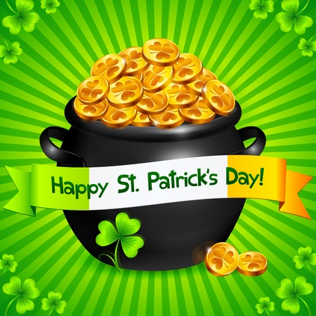 Black pot of leprechauns gold with lucky clovers Stock Vector - 18445464