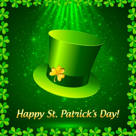 Green Patrick s leprechaun hat with golden clover Vector