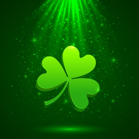 Green clover in the magic light background Vector