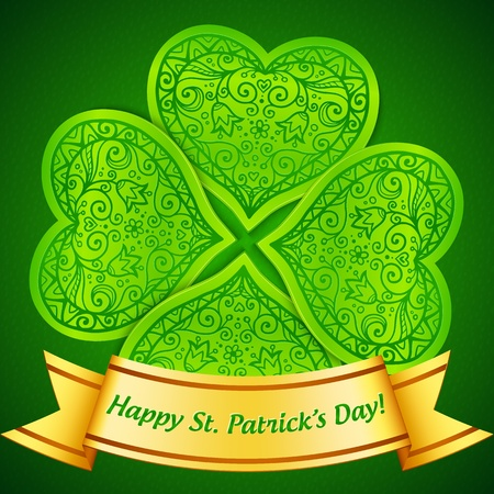Green plastic ornate clover with golden ribbon Vector
