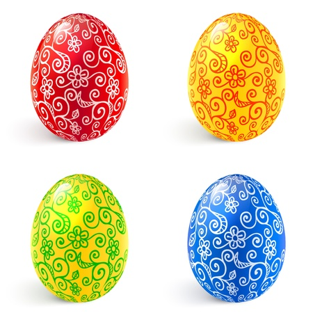 pasqua: Ornate vector traditional Easter eggs set