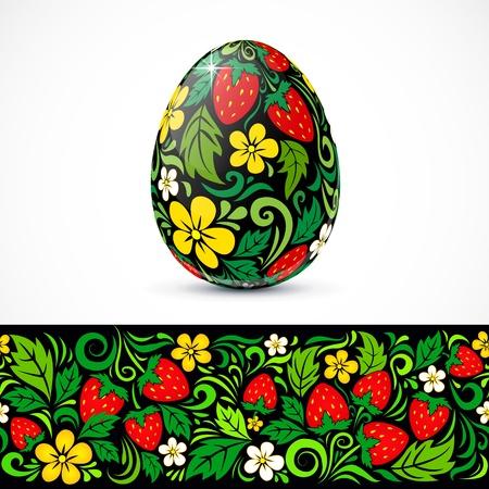 russian easter: Traditional ornate easter eggs sticker design Illustration
