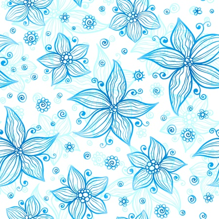 Bright blue ornate flowers  seamless pattern Vector