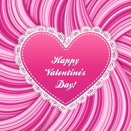 Pink  lacy heart on wavy lines background Vector