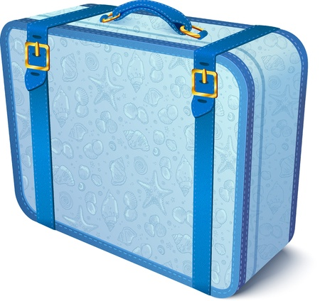 Blue ornate traveler   suitcase Stock Vector - 18524359