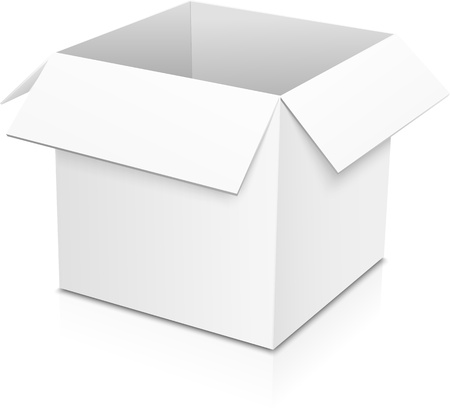 disposable: White isolated vector paper box