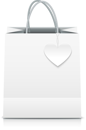 White paper vector shopping bag with heart label