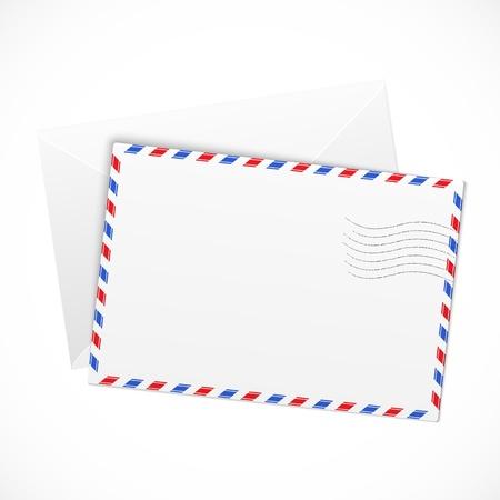 White paper airmail envelope